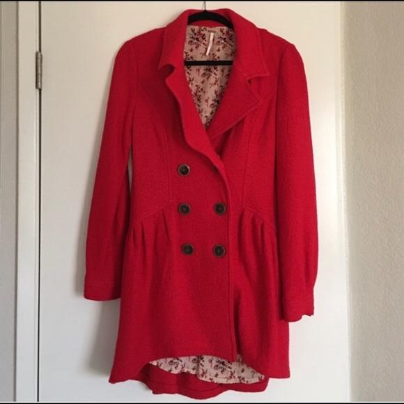Free people red coat pea coat